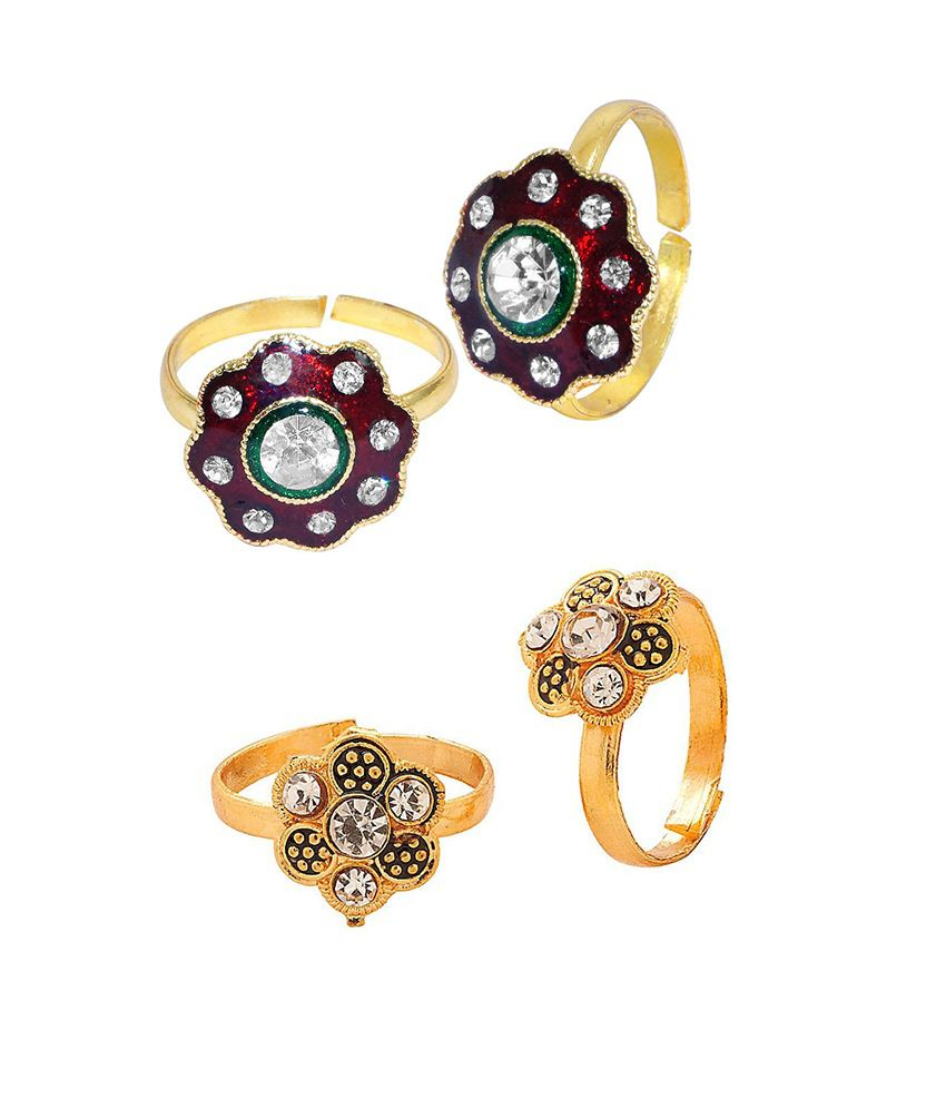 R S Jewels Gold Plated Multi Color Stone Toe Ring - Combo Of 2