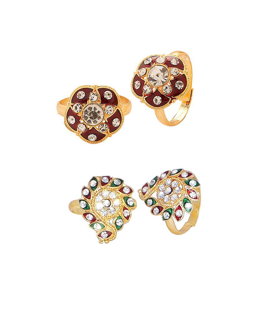 R S Jewels Gold Plated Cz Women Toe Ring - Combo Of 2