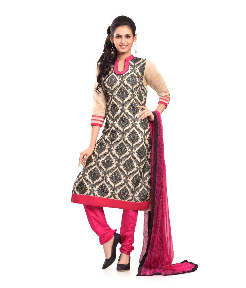 Ethnic Dukaan Beige Chanderi Unstitched Dress Material