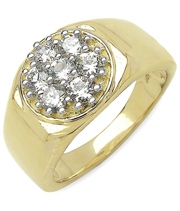 Johareez Yellow Gold Plated 92.5 Sterling Silver Crystal Ring for Men