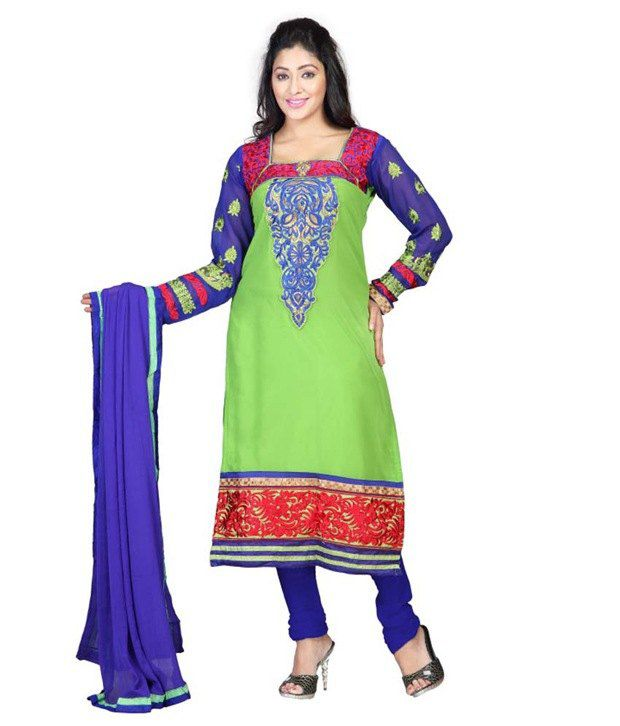 Today Deal Green Cotton Unstitched Dress Material