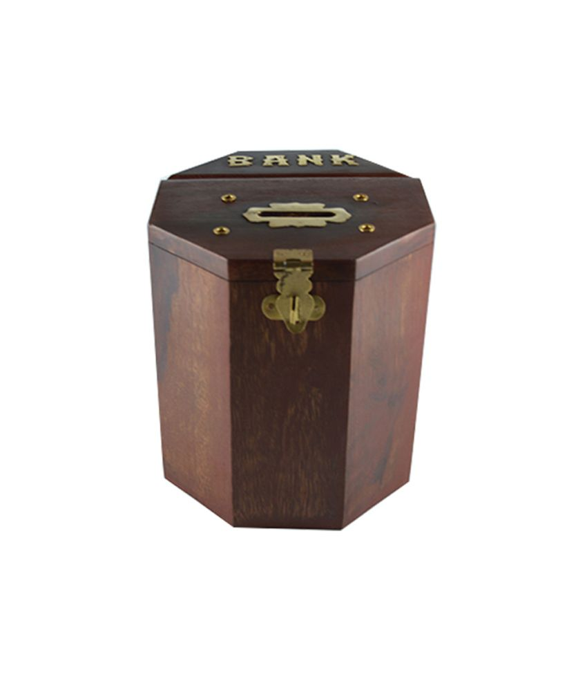 Craftuno Handcrafted Octagonal Wooden Money Bank