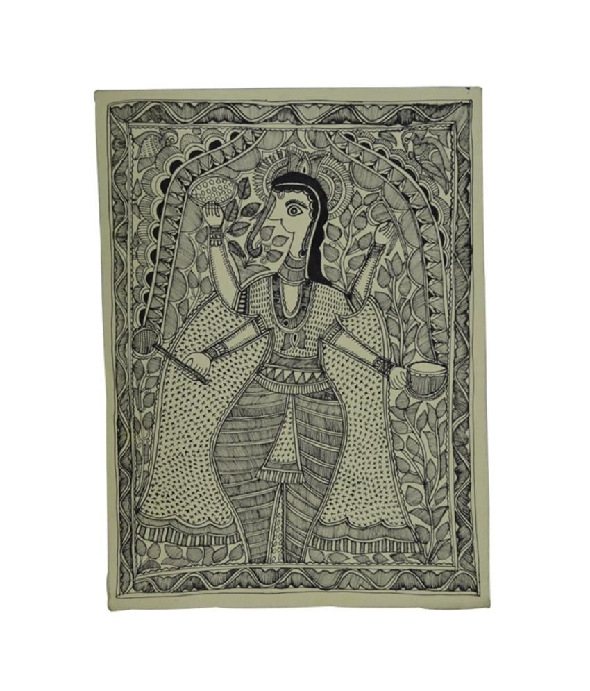 Craftuno Traditional Madhubani Painting Depicting Goddess Lakshmi