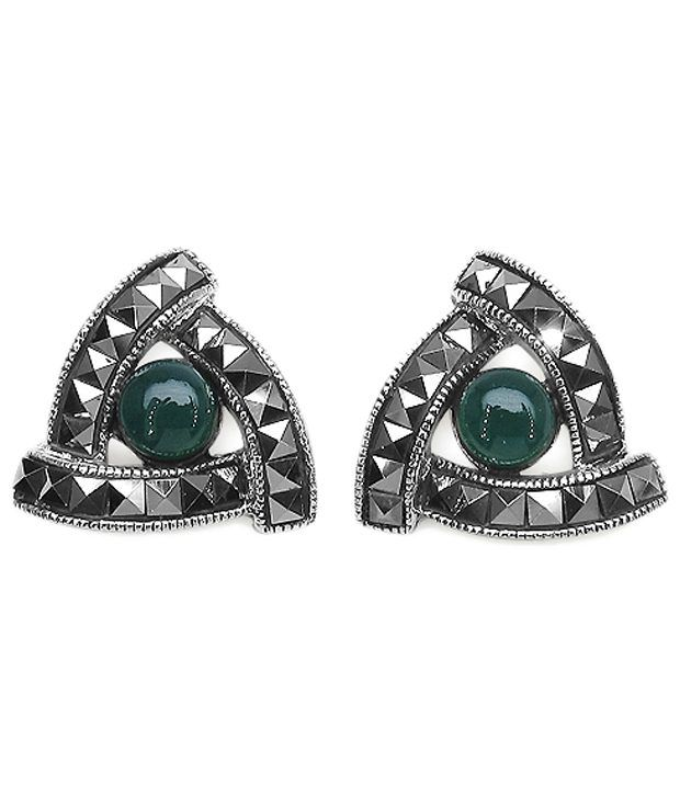 Johareez 92.5 Sterling Silver Marcasite Stud Earrings