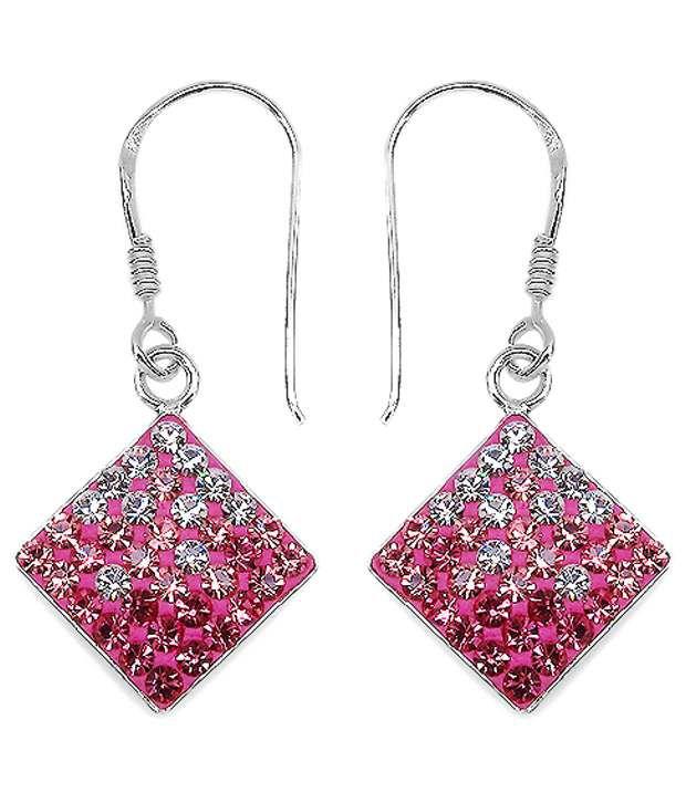 Johareez 92.5 Sterling Silver Crystal Hanging Earrings