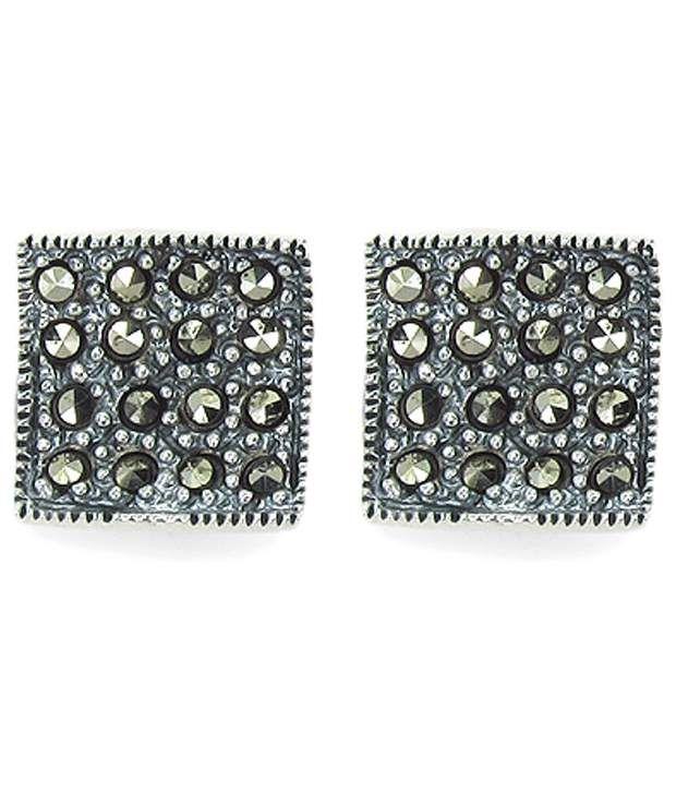 Johareez 92.5 Sterling Silver Marcasite Stud Earrings