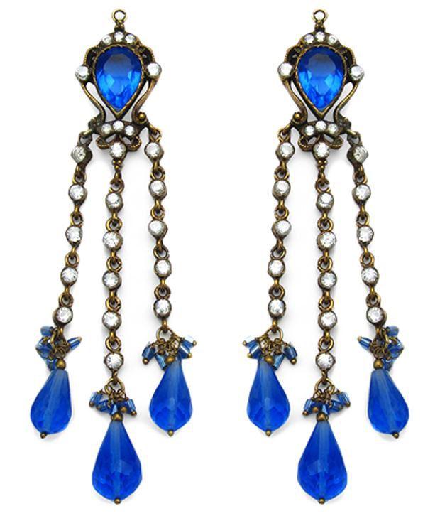 Johareez Blue Stone CZ Gold Plated Hanging Earrings