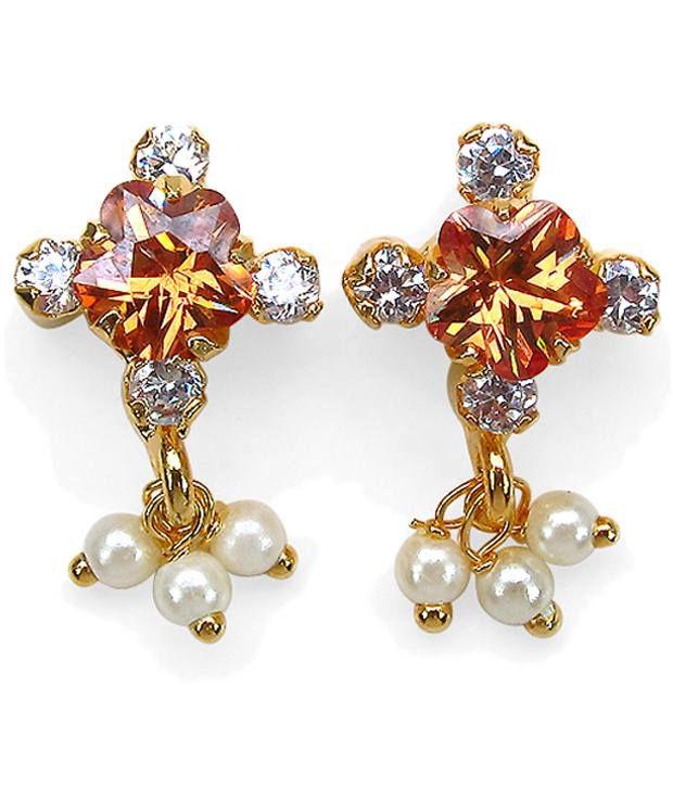 Johareez Orange & Golden American Diamond Drop Earrings