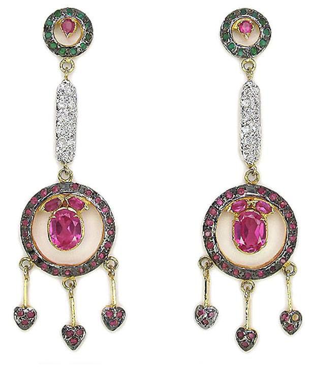Johareez Pink & Green American Diamond Hanging Earrings