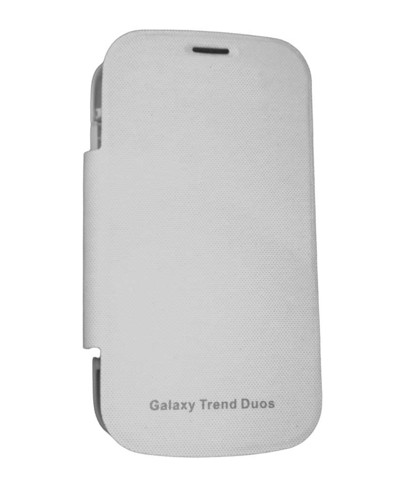 Sun Mobisys Synthetic Flip Cover For Samsung Galaxy Trendduos S7562 - White