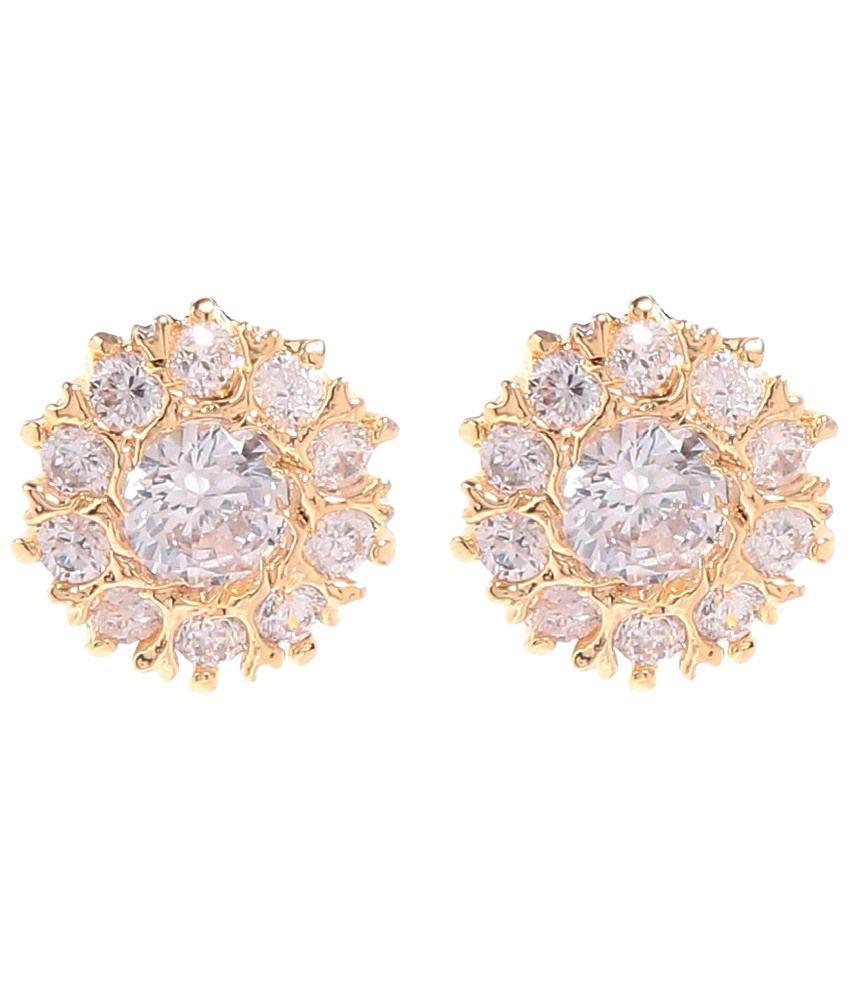 Tsquare Golden Gemstone Priya Stud Earrings