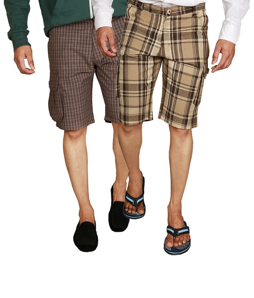 Wajbee Gray and Brown Cotton Checks Men's Cargo Shorts (Pack of 2)