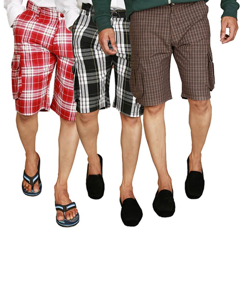 Wajbee Red, Gray & Brown Cotton Men's Cargo Shorts (Pack of 3)