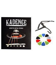 Kadence Combo of Guitar Strings, Capo and 10 Picks