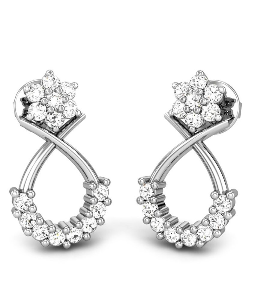 Candere Opal Star Diamond Earring White Gold 18K