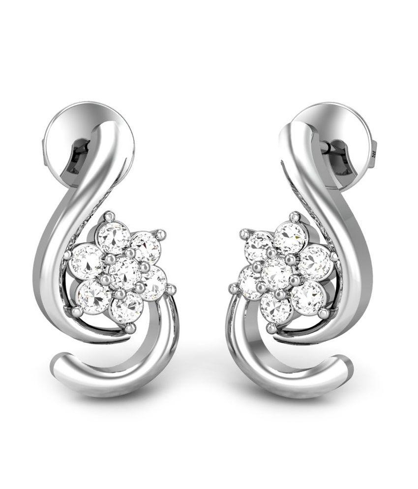 Candere Star Lamp Diamond Earring White Gold 18K