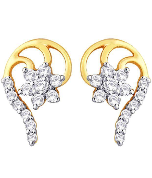 Nakshatra 18KT IGI Floral Diamond Stud Earrings