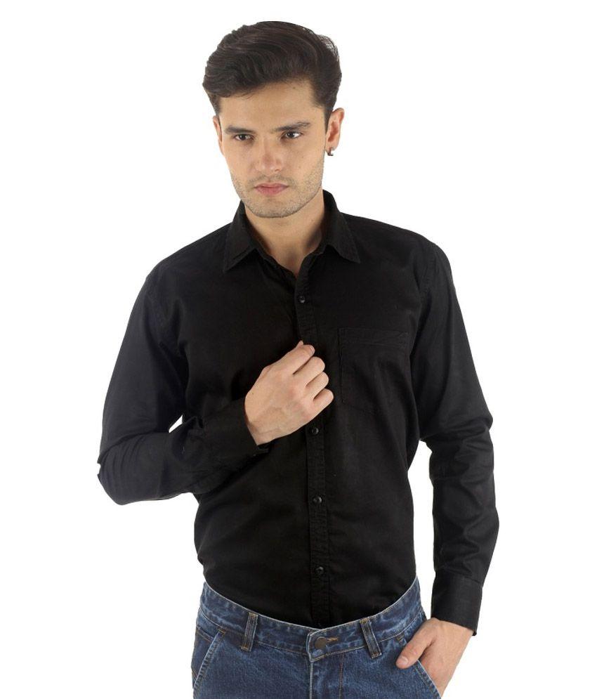 R C Enterprises Black Cotton Casual Shirt