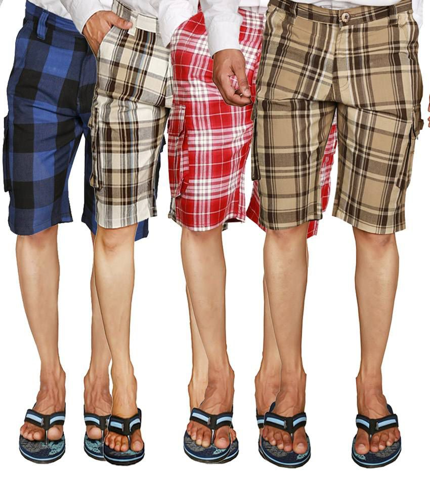 Wajbee Checkered Men's Shorts in Blue, Red, Light & Dark Beige (Pack of 4)