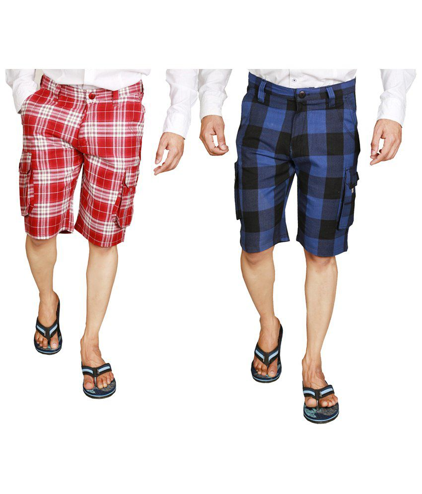 Wajbee Combo of 2 Red & Blue Checkered Bermuda Shorts for Men