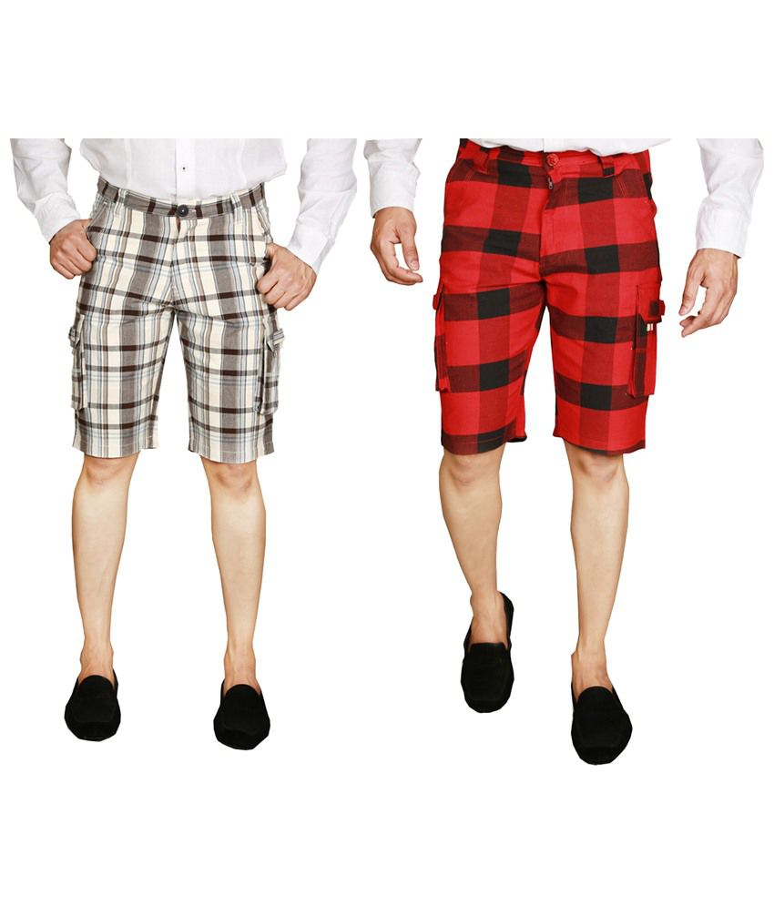Wajbee Spectacular Combo of 2 Gray & Red Checkered Bermuda Shorts for Men