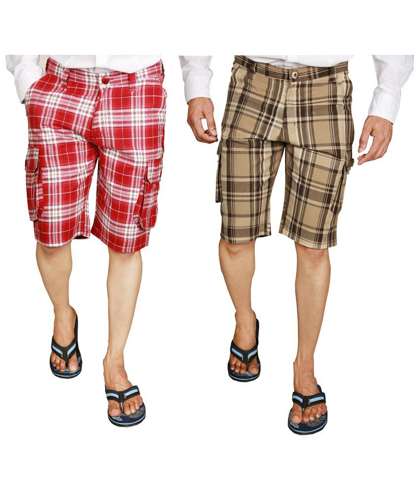 Wajbee Stylish Combo of 2 Red & Beige Checkered Bermuda Shorts for Men