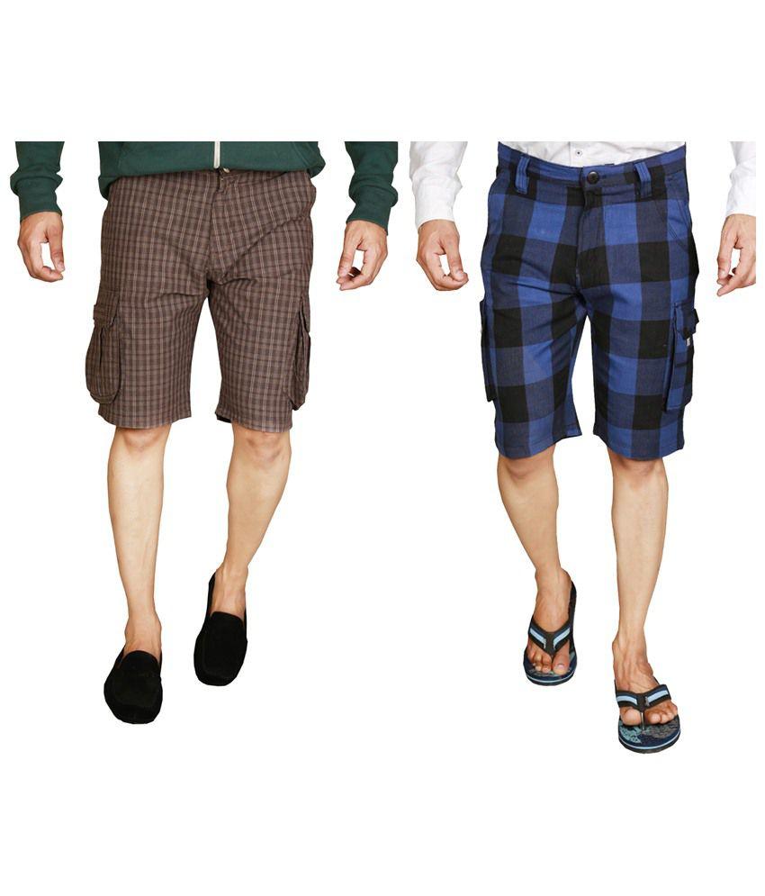 Wajbee Voguish Combo of 2 Brown & Blue Checkered Bermuda Shorts for Men