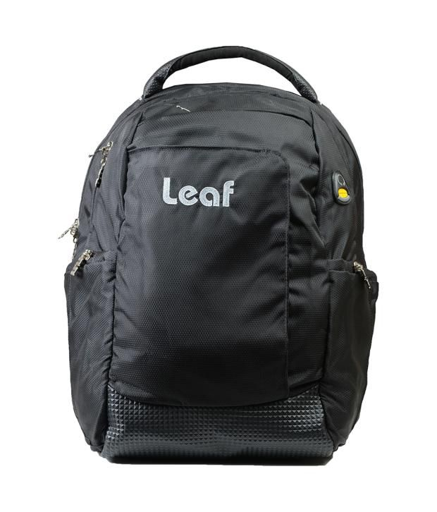 Leaf Black Polyester Laptop Backpack