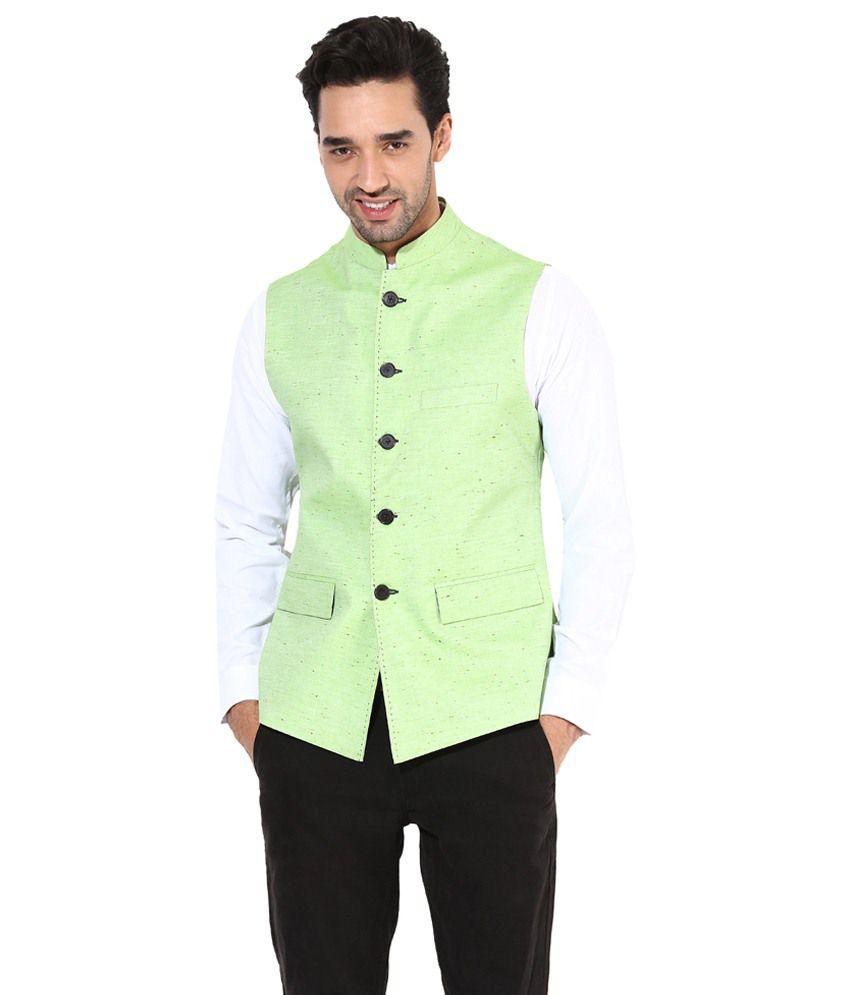 Monteil & Munero Light Green Waist Coat for Men