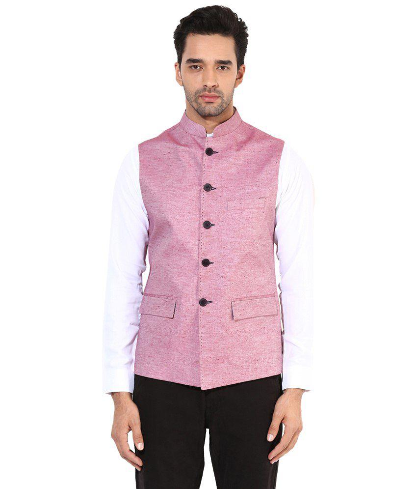 Monteil & Munero Medium Pink Waist Coat for Men