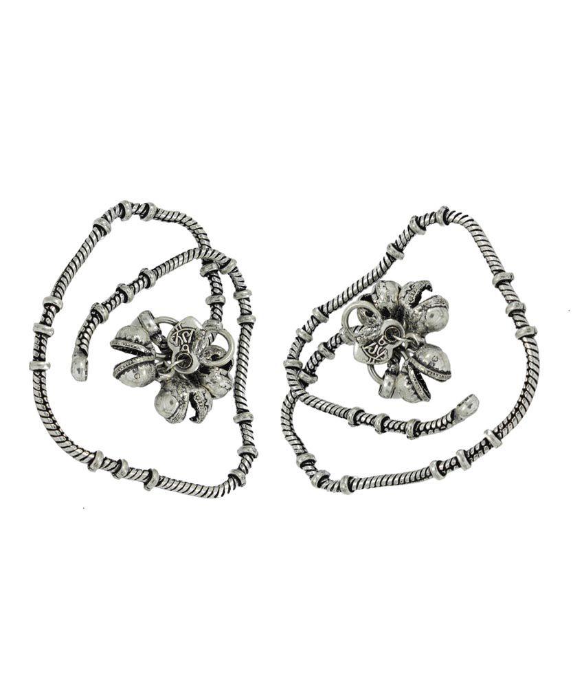 Pehchan Silver Bridal German Silver Payal & Pajeb Pair Of Anklets ...