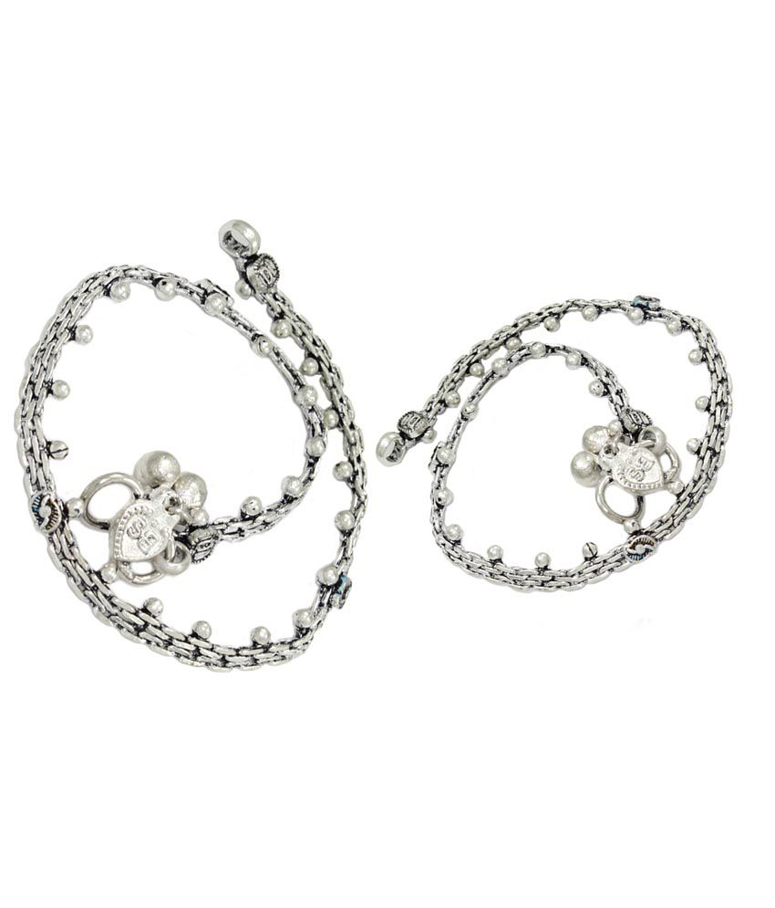 Pehchan Silver Circle of Life German Silver Payal & Pajeb Pair Of Anklets