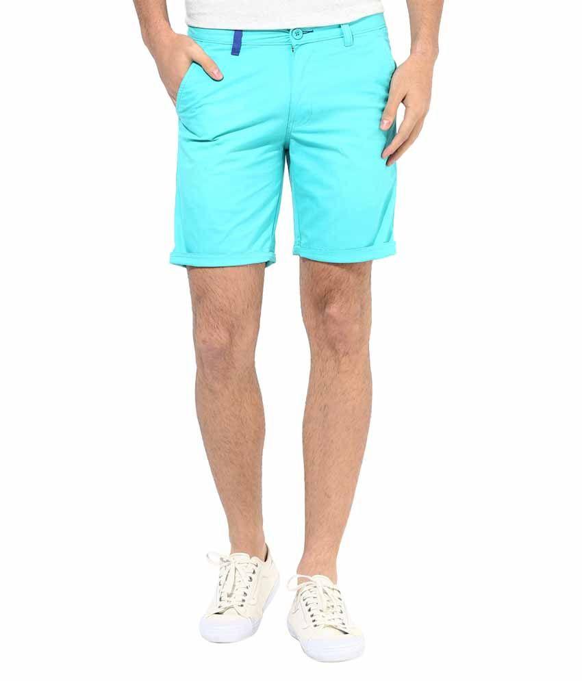 Silver Streak Turquoise Cotton Shorts