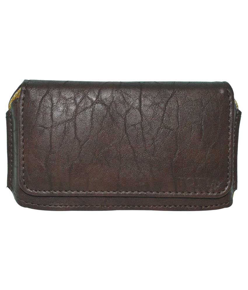 Totta Universal PU Leather Belt Pouch Holster For Spice Smart Flo Pace 2 Mi502 - Brown