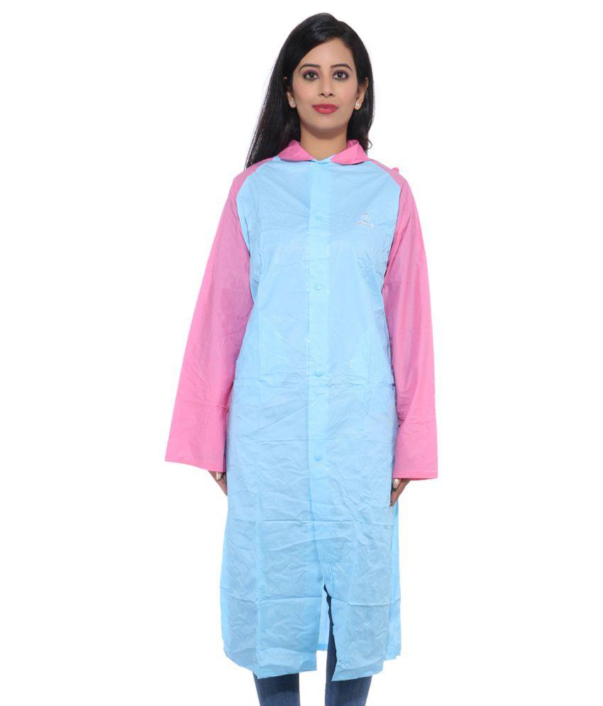 CIZARA BLUE LONG RAINCOAT WITH PINK SLEEVE