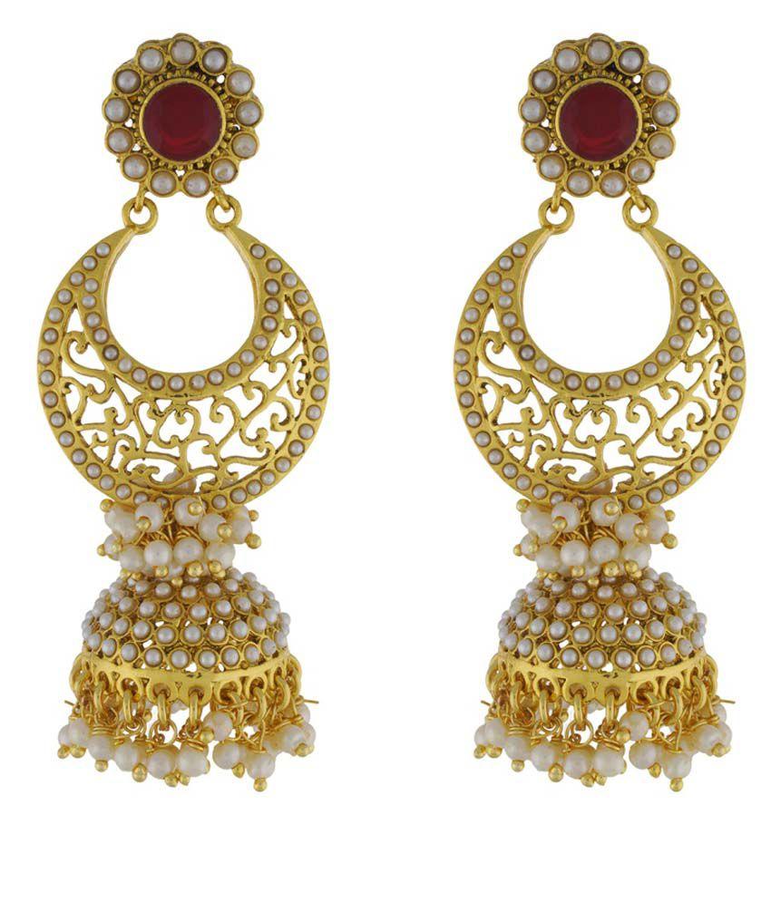 Chaahat Fashion Jewellery Stylish Pearl Copper Jhumki Earring