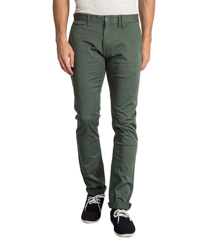 Derby Jeans Community Green Cotton Lycra Chinos