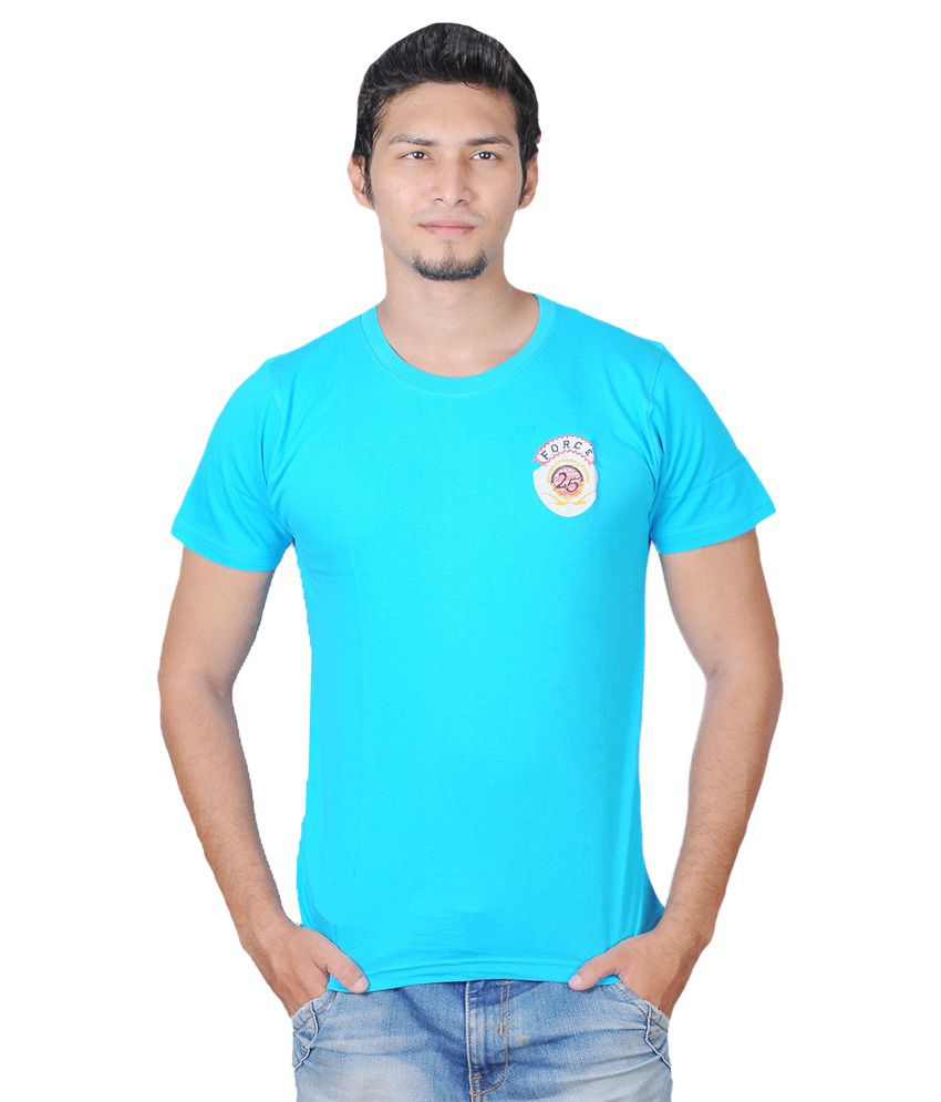 Force Blue Cotton Round Neck Half Sleeve T-Shirt