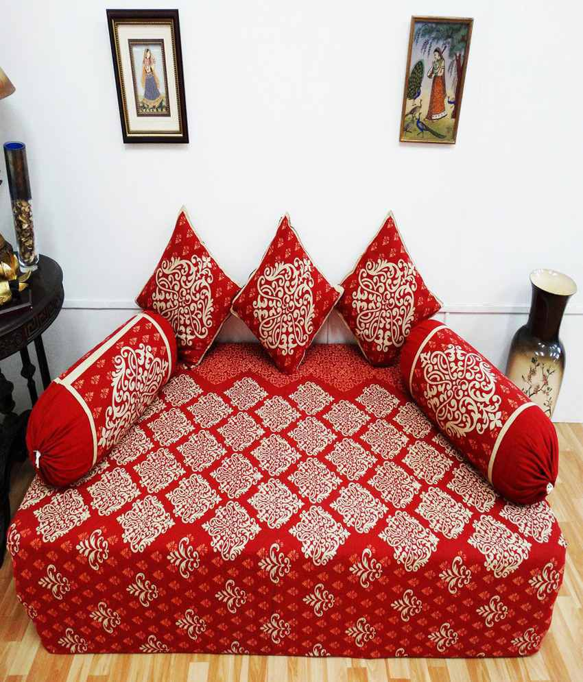 Heritagefabs desire red diwan set single bed sheet with 3 for Diwan bed set