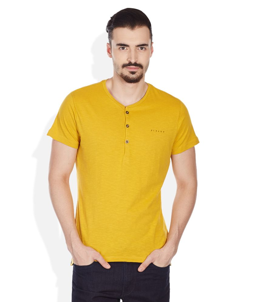 Sisley Yellow Solid Henley T-Shirt