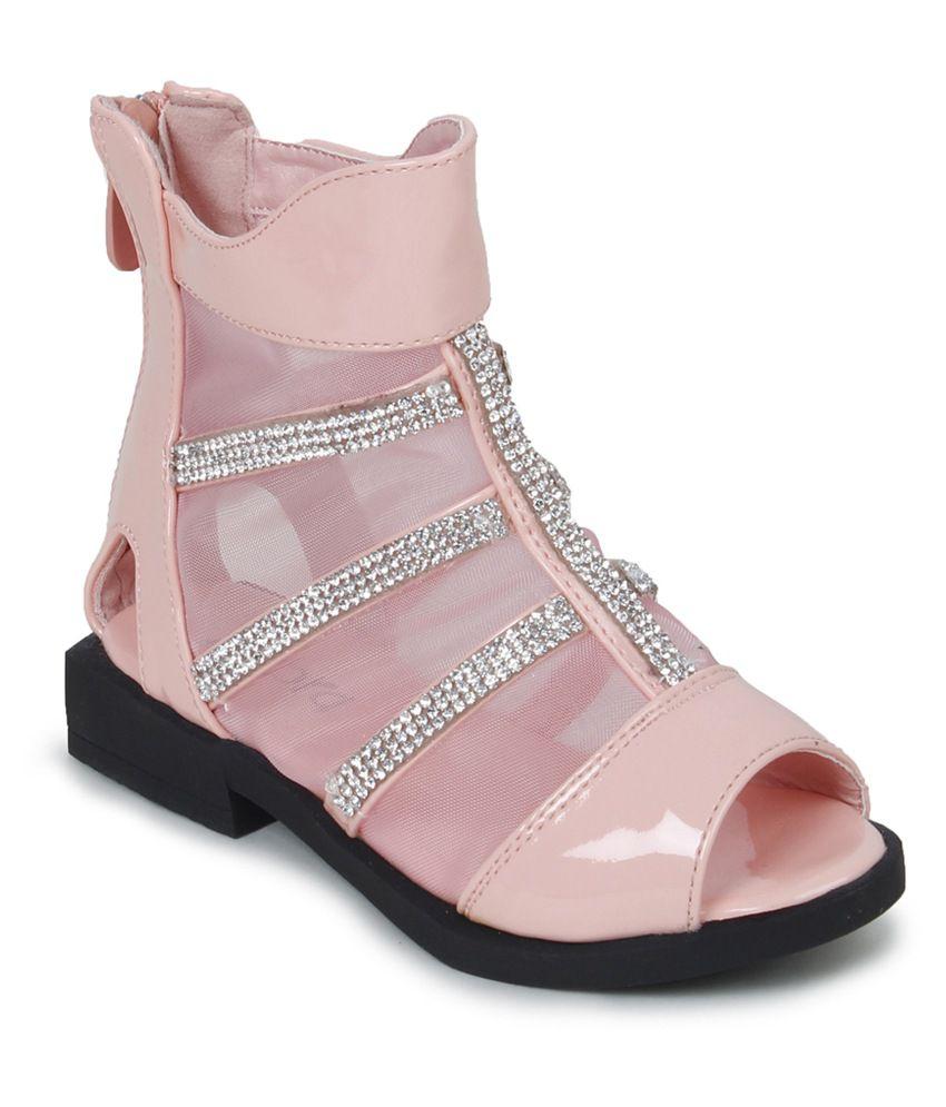 Zebra Peach Party Wear Sandals For Kids