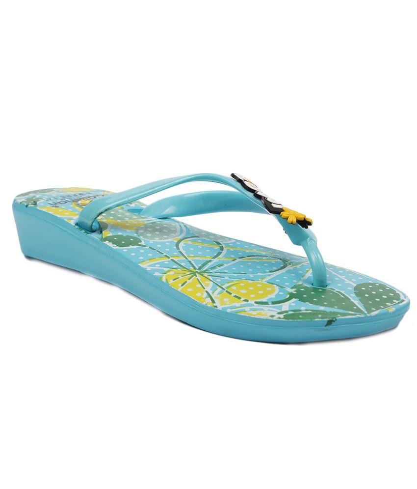 Aalishan Footwear Blue Low Heel Slippers
