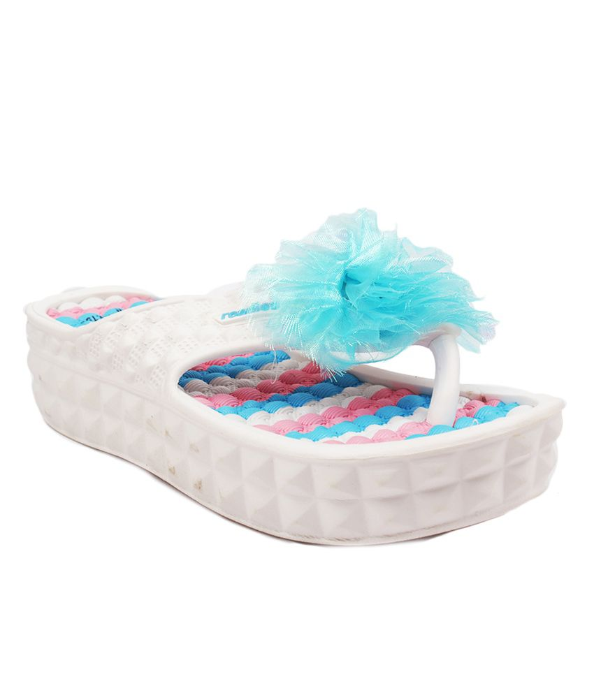 Aalishan Footwear Blue & White Low Heel Slippers