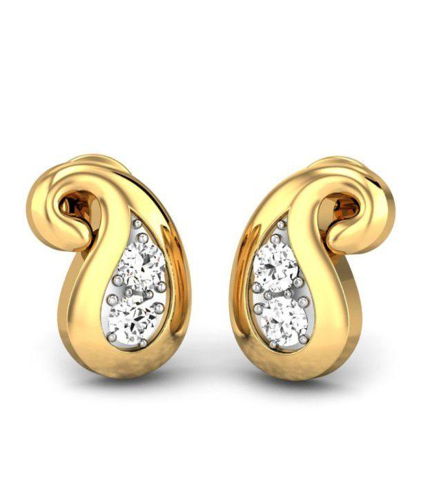 Candere Saina Yellow Gold 14K Diamond Earing