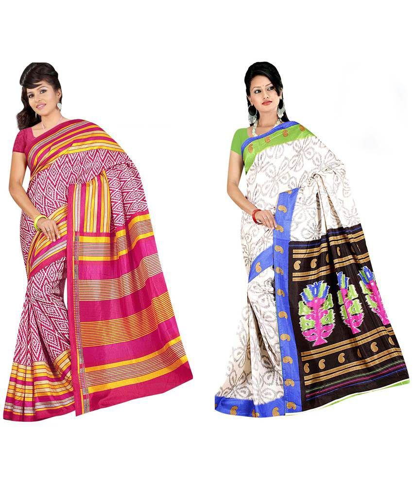 Indianefashion Multi Art Silk Pack of 2