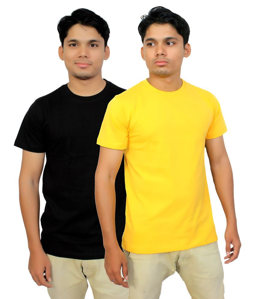 Megsto Black and Yellow Cotton Half Sleeves Round Neck T Shirt - Combo of 2