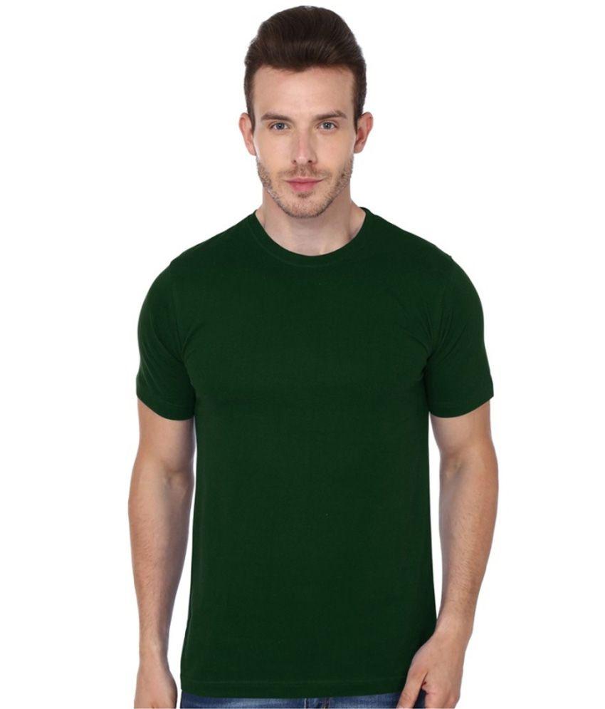 Teeswood Green Cotton Half T-shirt For Men