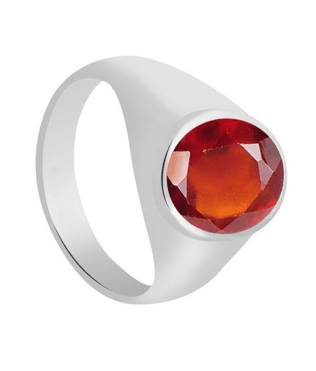 55 Carat 8.75 Ratti Natural Hessonite Garnet (Gomedh) Gemstone Silver Ring