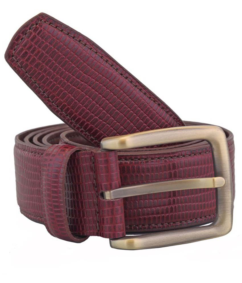 Adamis Maroon Leather Belt