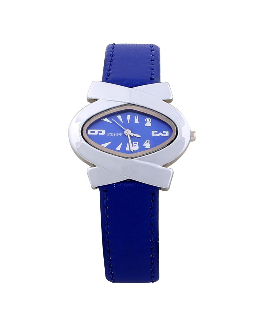 Adine Blue Leather Strap Casual Analog Watch